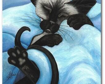 Siamese Cat Sleeping Snug Pet ArT - Art Prints by Bihrle ck412
