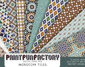 Moroccan digital paper - Moroccan tiles scrapbook backgrounds - 12 digital papers (#112) INSTANT DOWNLOAD