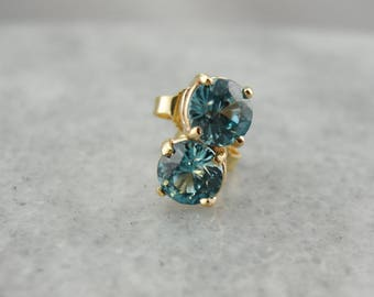 Round Blue Zircon Stud Earrings, December Birthstone 772J24-D