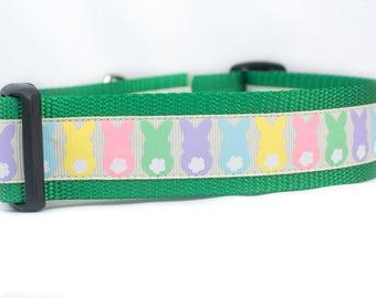 Easter Bunny Dog Collar - 1.5 inch wide Dog Collar - Easter dog collar- buckle or martingale collar - Spring dog collar - easter rabbit dog
