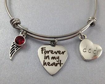 Forever in my Heart Bracelet, Dad Memorial Bracelet, Sympathy Gift, Loss of Dad