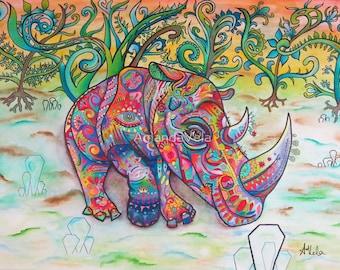 Rhino Art/New School Art/Spirit Animal Art/Spiritual Art/Vela Fine Art/Visionary Art/Matted Art/Reclaimed Wood Frame/Rhino Canvas Print