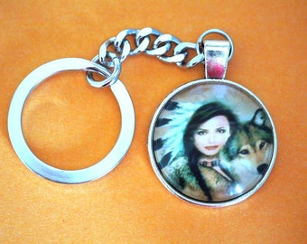 Beautiful Indian Female with Wolf / Husky Dog Glass Dome Cabochon Keychain Metal Effect