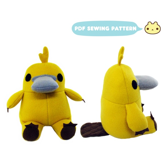 Platypus Toy Sewing Pattern Stuffed Platypus Softie Toy