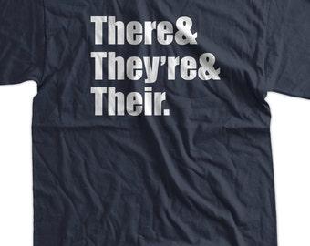 Funny Teacher Librarian Grammar T-Shirt - There They're Their Tee Shirt T Shirt Geek Mens Ladies Womens Youth Kids