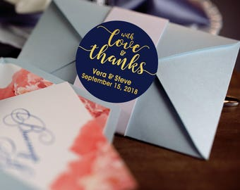 With Love and Thanks, Custom Labels - Personalized Stickers -  Round Stickers - Color Coordinated - Wedding Decor - Thank you