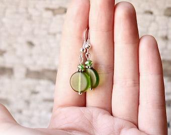 Forest Green Earrings, Green Glass Crystal Dangle Earrings, Dainty Green Sea Glass Earrings, Bridesmaid Earrings, Feminine Sea Glass Jewelry