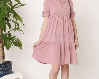 Solid Tiered Ruffle Midi Dress