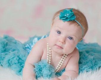 Turquoise headband, aqua headband, blue headband, teal headband, aqua baby headband, petite chiffon headband, Girls headband, Child headband
