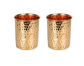 2 X 100% Copper 300ml Hammered Drinking Glass Cup Tumbler Ayurveda Health Yoga
