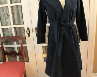 1970's Navy Blue Ultra Suede Trench Coat