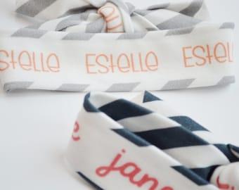 Personalized Baby Head Wrap - Custom Newborn Bow - Name Headband - Personalized Turban - Baby Girl Gift Personalized - Knotted Headband