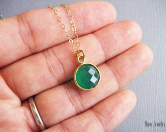 Green Onyx Necklace, Gemstone Bezel Necklace, Gold Necklace, Simple Necklace, Gemstone Jewelry, Delicate, Minimal, Wedding, Gift for Her