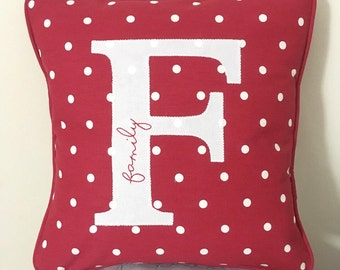 Personalised, Bespoke Cushion Pillow Handmade - Red Spot and White Fabric Letter Initial