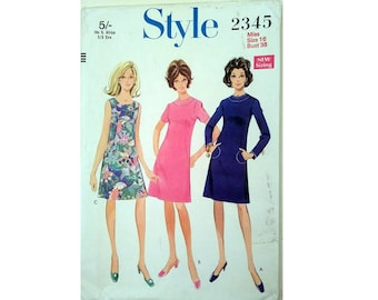 """UNUSED Vintage 60's Style 2345 Round Beck A Line Sleeveless Sort or Long Sleeve Dress Sewing Pattern Size Bust 38"""" UK 16"""