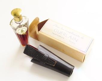 Vintage Shalimar French Perfume Umbrella Bottle in Leather Case Original Box Paris France 1/4 oz (7.5 ml)