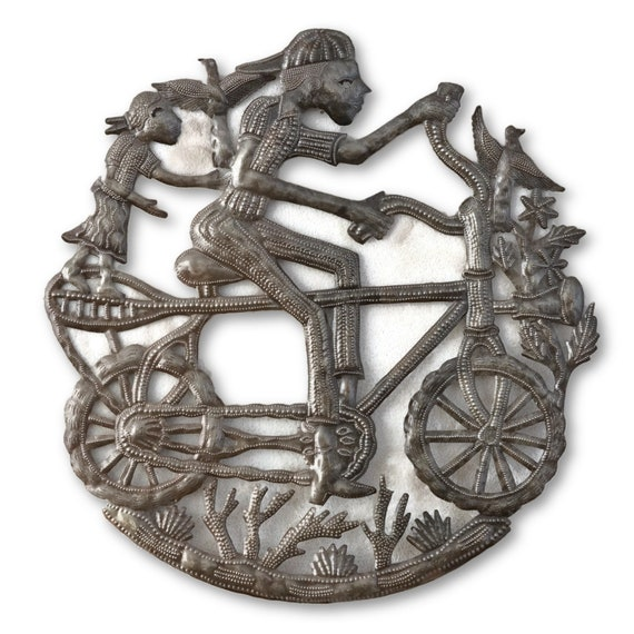 Boy On Bike With Little Girl, Quality Handmade Steel Sculpture, One-Of-A-Kind Metal Art 23.5x23.5