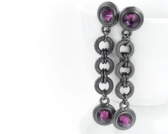 Black and Purple Earrings Dangle Swing Earrings Gunmetal and Amethyst Purple and Black Jewelry Edgy Personalized Birthstone Gifts for Women
