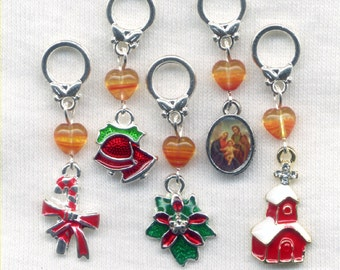 Christmas Knitting Stitch Markers Jesus is the Reason for the Season Xmas Christian Set of 5 /SM199D