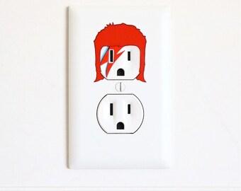 David Bowie - Ziggy Stardust - Electric Outlet Wall Art Sticker Decal