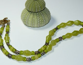 Olive New Jade Beaded Handmade Necklace