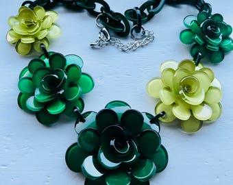 Statement boho drop Bib Fashion Modern green lime flower floral necklace Beads birthday wedding summer holiday anniversary gift Christmas