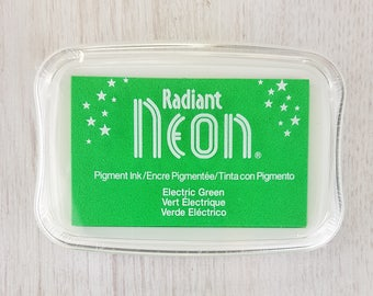 Neon Ink Pad - Radiant Neon Electric Green Pigment Ink Pad Large - Ink for stamp - Inkpad for Rubber Stamp - Bright Green Ink - Green Ink