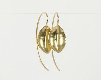 Gold leaf earrings, gold earrings 14k gold hammered earrings, real gold jewelry, delicate gold earrings