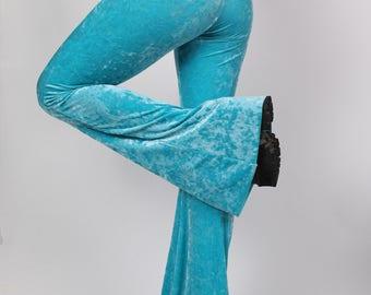 Turquoise Crushed Velvet Bell Bottoms