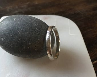 Sterling Silver Ring Band, Thick hammered wedding band
