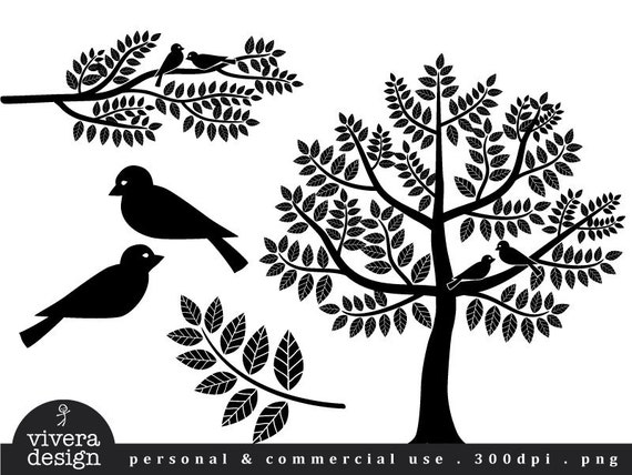 Digital Silhouette Love Birds Branches and Tree in Black