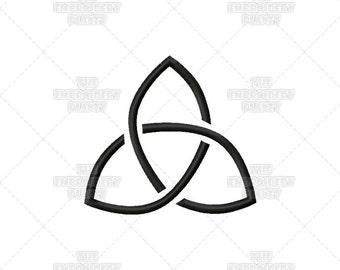 Woven Triquetra Stencil Effect Celtic Spiritual Religious Sacred Symbol Machine Embroidery Pattern Design
