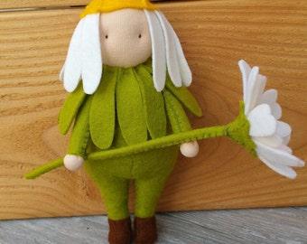Flower felt doll Flora Daisy - DIY felt kit