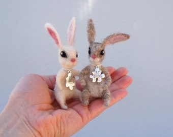 Felted bunny couple Valentine's gift Best Friends necklace Gift for Girlfriend Cute felted rabbit Gift for friend Boyfriend gift Mini animal