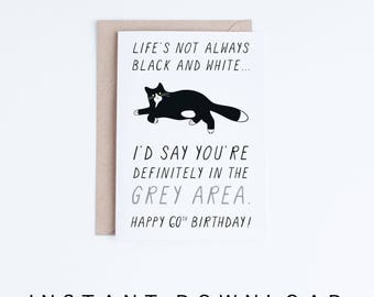 60th Birthday Card, Printable Birthday Card, Funny Cat Birthday Card, Getting Old Card, Printable Cat Card, Instant Download, 60 Birthday