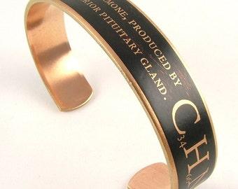 Oxytocin Bracelet - Skinny Steampunk Chemistry Cuff Bracelet - Hypothalamus - Molecule Jewelry