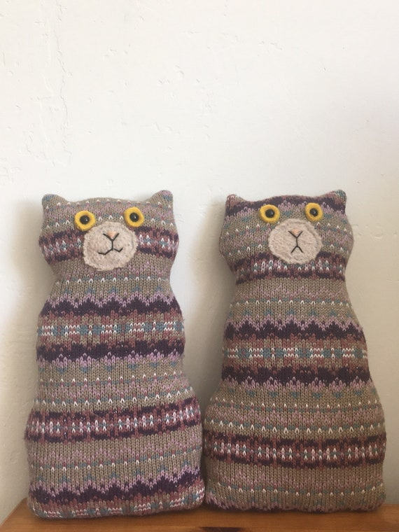Flat Cat soft toy handmade recycled woollen kitten - Brown and coloured tabby!
