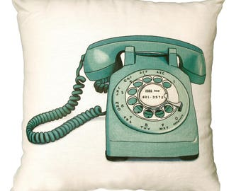 Vintage Green Telephone Linen Pillow