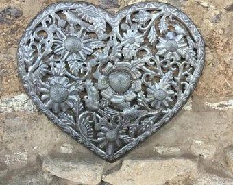 "Haitian Metal Heart ""Organic Floral Heart"" Recycled Oil Drum Art 18"" x 16"""