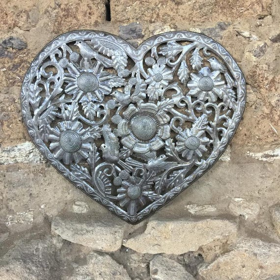 "Haitian Metal Heart ""Organic Floral Heart"" Recycled Oil Drum Art 18"" x 16"""