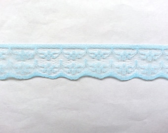 "10 Yards of Light Blue Lace Ribbon/ Baby Blue Lace Ribbon/ Light Blue Lace Trim/ Baby Blue Lace Trim 0.87"" (2.2 cm)"