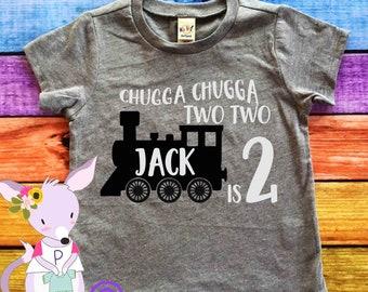 Birthday Shirt Train birthday number Any Age birthday shirt Chugga Chugga Two Two party shirt train birthday shirt Birthday Two two Train
