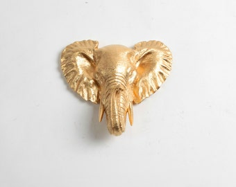 Elephant Head Wall Mount in gold, The Phineas Mini Faux Elephant Decor Mount by White FauxTaxidermy - Resin Art - Elephant Home Decor