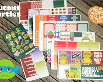 Mutant Turtles Full Weekly Planner Stickers Kit - 80s Planner Kit - Turtles Planner Sticker Kit