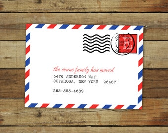custom moving announcement - airmail postmark