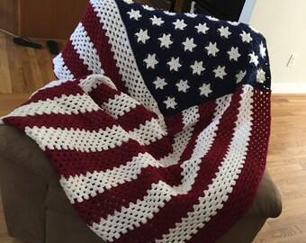 Crochet flag blanket etsy american flag crochet blanket dt1010fo