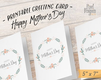 Mother's Day Card Printable, Happy Mother's Day Card, Shabby Chic Greeting Card for Mother's Day, Happy Mother's Day Mummy, Grandma, Digital