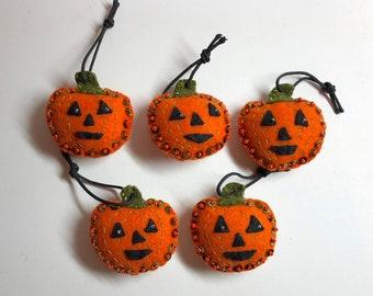 Set of 5 Handmade Halloween Jack-o'-lantern Pumpkin orange & moss green felt ornaments with sequins and seed beads