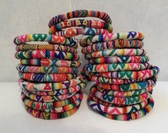Wholesale Lot 100 Peruvian vintage fabric textile Bracelets Handmade Peru