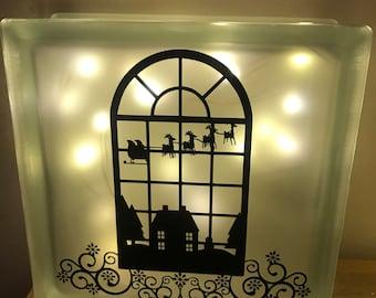 Christmas window glass block
